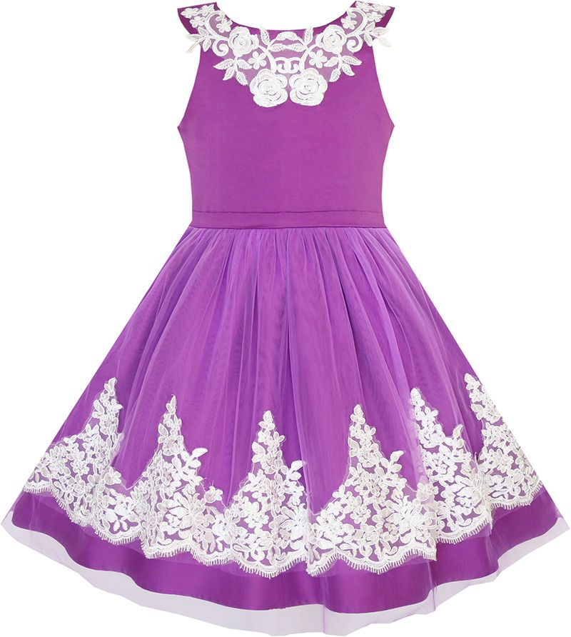 Flower Girls Dress Embroidered Butterfly Diamond Pageant Wedding Size 7-14 Party