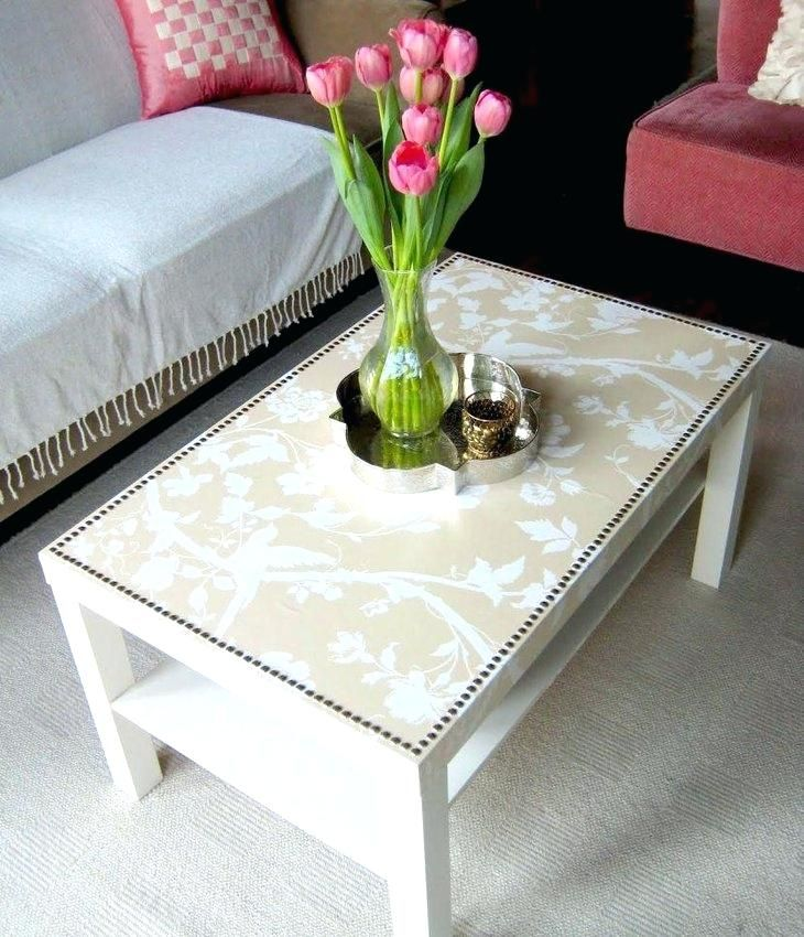Cute Coffee Table Ideas Plan With Attractive Decoupage Decorations