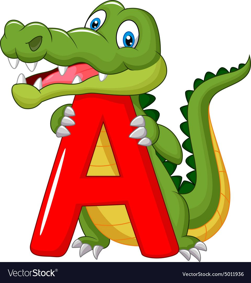 Cartoon Alligator With Alphabet A Vector Image On Alphabet Illustration Cartoon Happy Cartoon