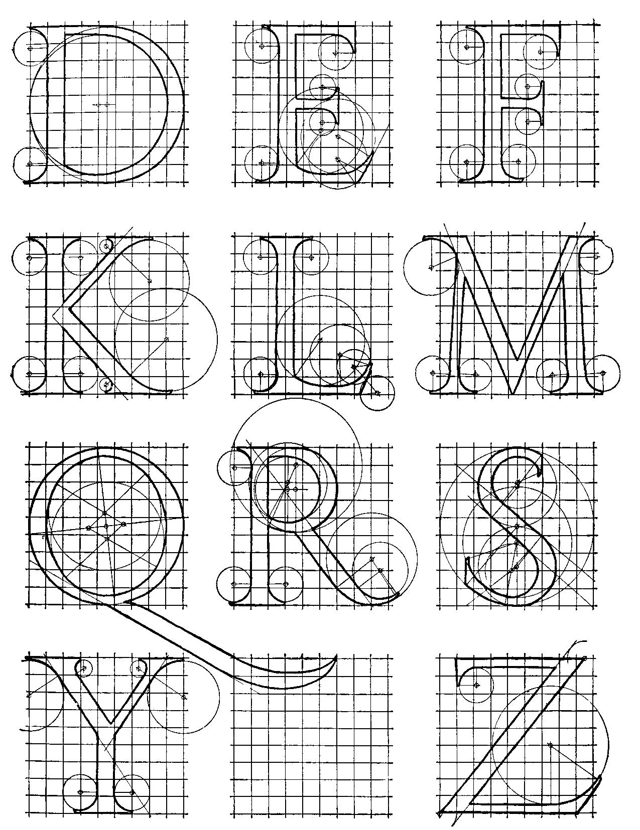 Alphabet after Sebastian Serlio (1473-1554). Reconstructed