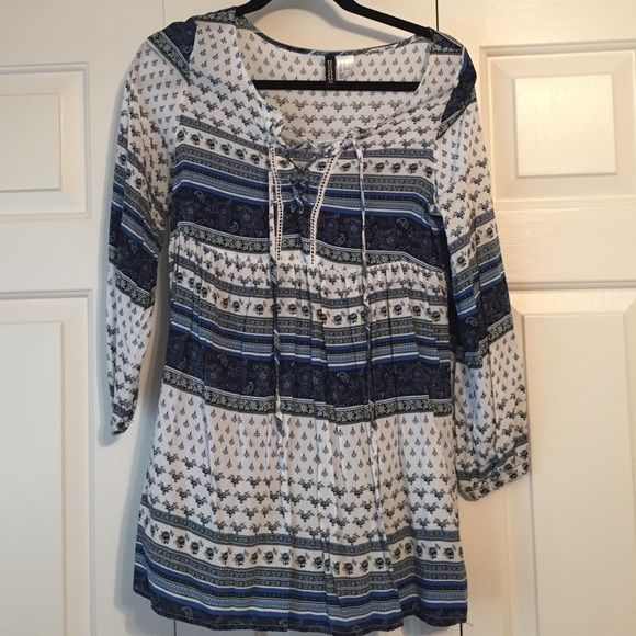 H&M Lace up tunic Blue and white lace up tunic from h&m H&M Tops Tunics