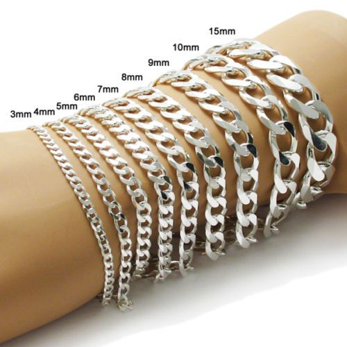 Details About 925 Sterling Silver Cuban Link Chain Bracelet All Widths And Lengths Silver Chain Bracelet Mens Bracelet Silver Silver Jewelry Handmade