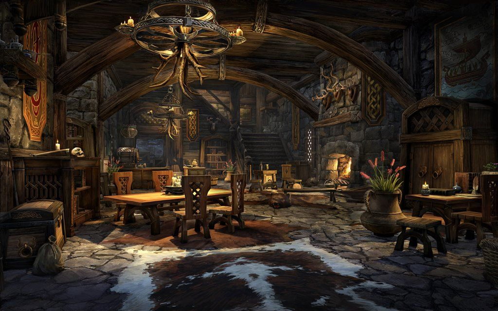 Environment Concept: full space, wood, stone, homey (Elder Scrolls