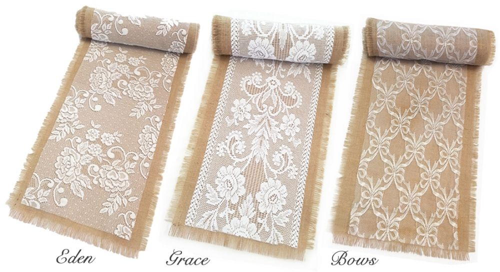 white tablecloths burlap runners pictures | Chair Covers, Sashes ...