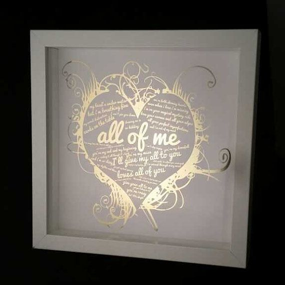Gold Foil John Legend All Of Me Personalised Framed Song Lyric Box Keepsake Valentine S Day Engagement Wedding Anniversary First Dance