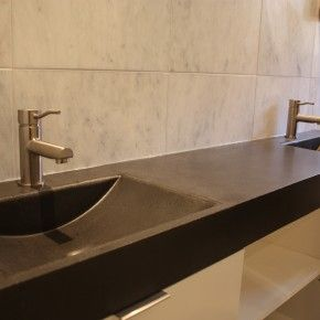 Bathroom Furniture. Luxury White Bathroom Trough Sinks Vanity Wooden  Materials And Black Color Also Sweet
