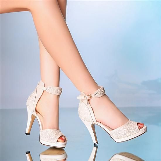 e04c2d4269 10 cm heel Ivory Wedding shoes ankle strap open toe lace heels ...
