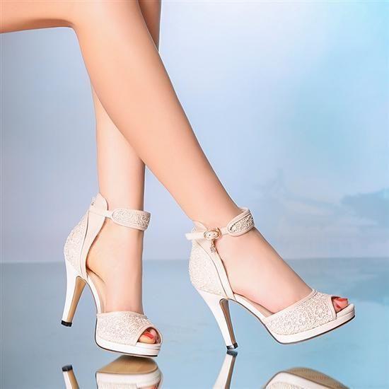 10 cm heel ivory wedding shoes ankle strap open toe lace. Black Bedroom Furniture Sets. Home Design Ideas