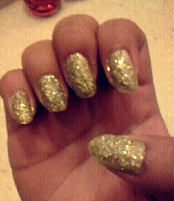 Sparkled Gold Nails Nail Art Pinterest Gold Nail