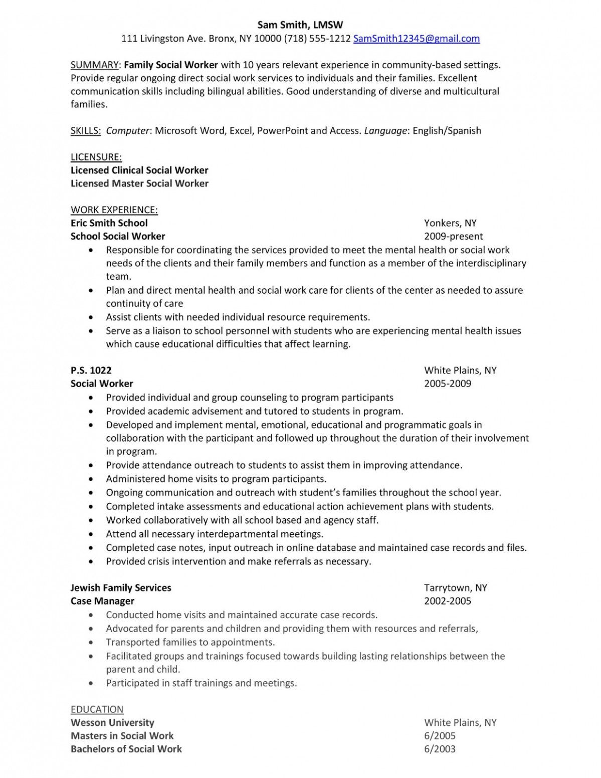 10 Youth Employee Resume Pattern