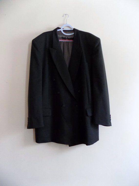 90s Sport Coat, Jacket, Dress Coat, Gray, Green Gray, Brown Green, Charcoal, Size 48W 36L, Andre Willard Paris, Mens Vintage Clothing