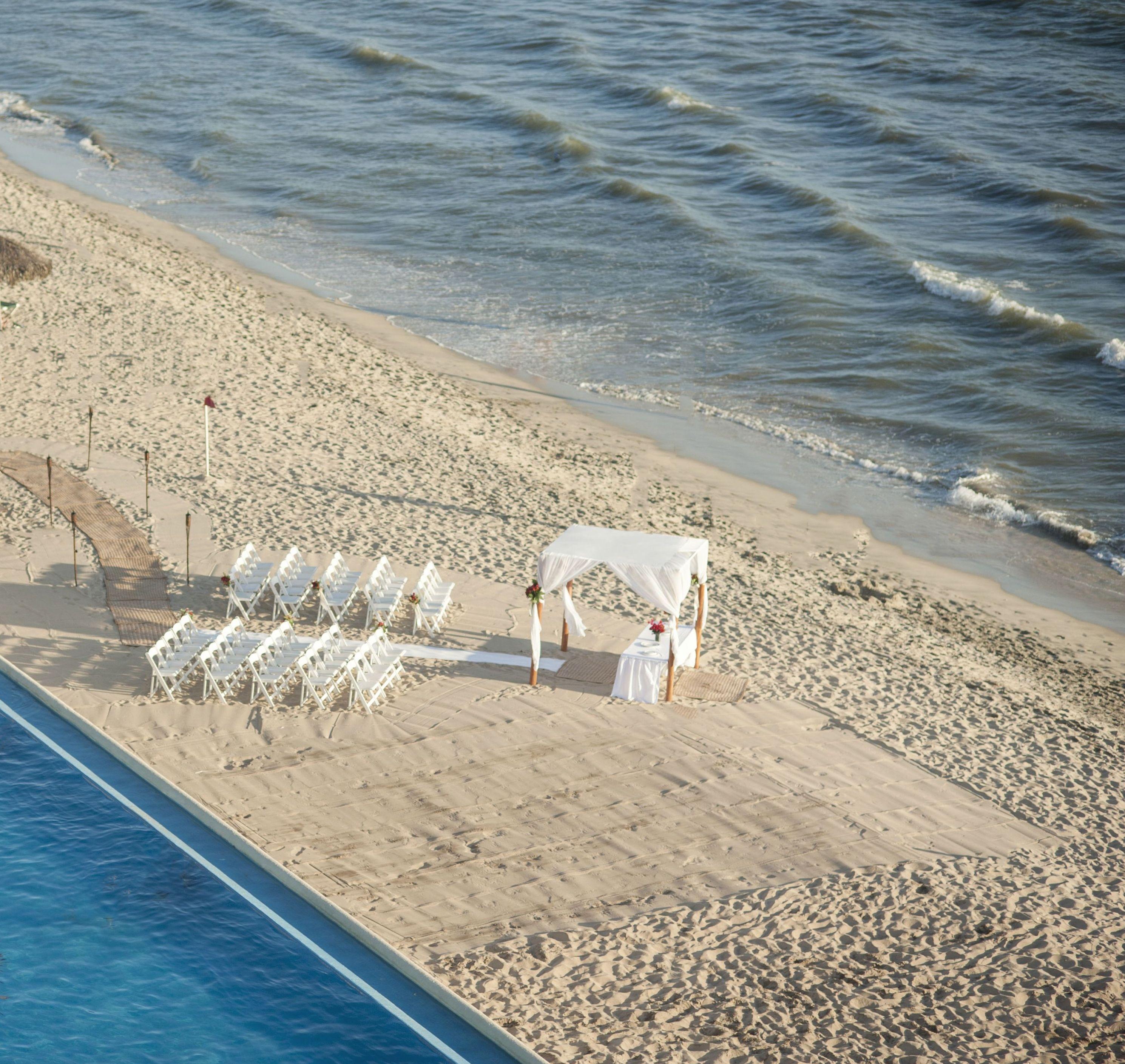 Montaje Bel Air en playa.