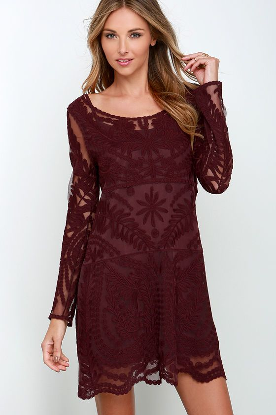 79cd1dd4a229 Black Swan Heidi Burgundy Lace Long Sleeve Dress | Dresses | Plum ...