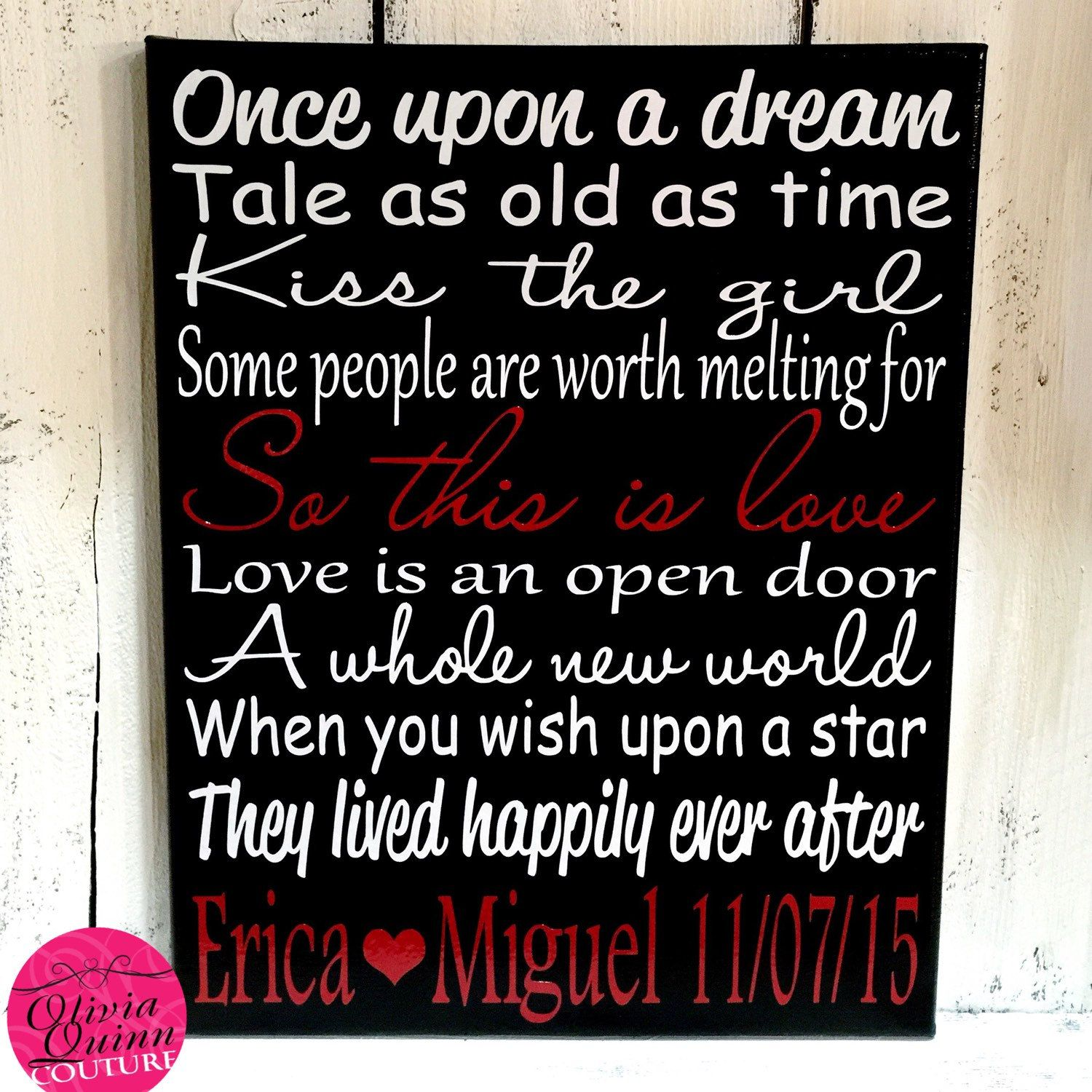 Disney Wedding Quotes Disney Love Song Personalized Art Print Canvas New Style
