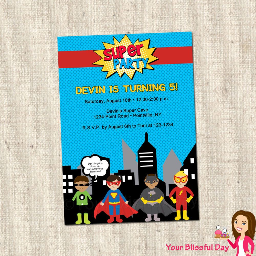 Superhero birthday party invitation superman batman spiderman – Superheroes Party Invitations