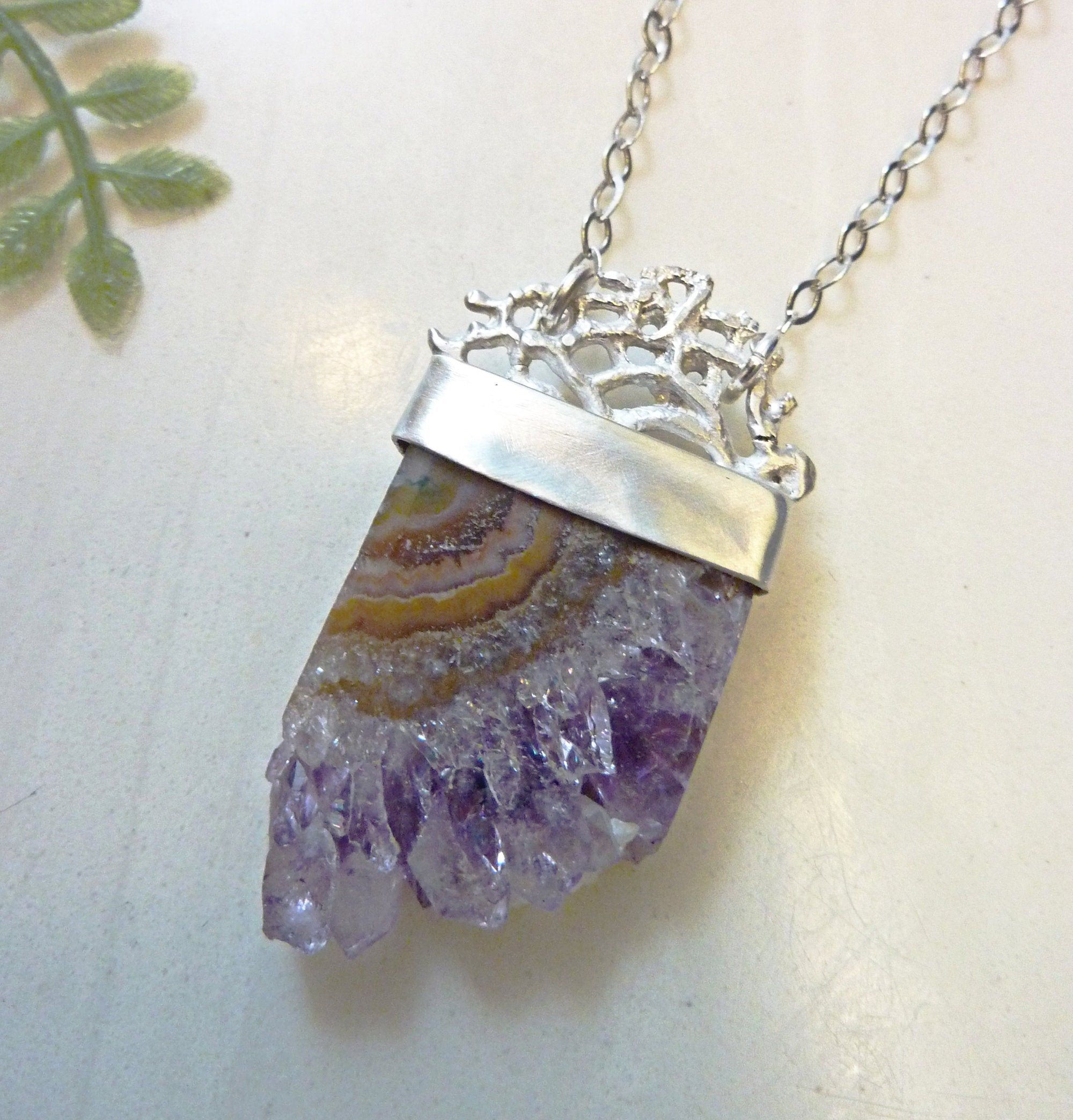 Women/'s Crystal Charm Necklace Sterling Silver And Lavender Chalcedony Raw Gemstone Healing Necklace.