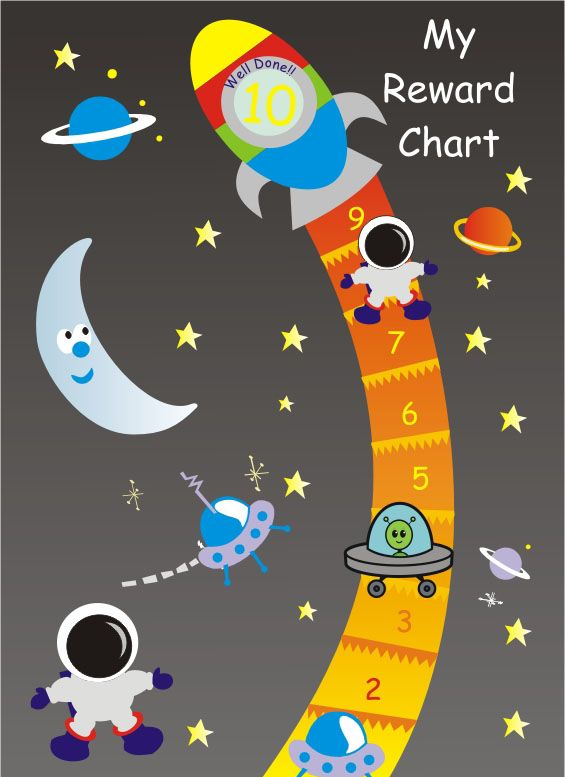 this magnetic space reward chart is reversible with 10