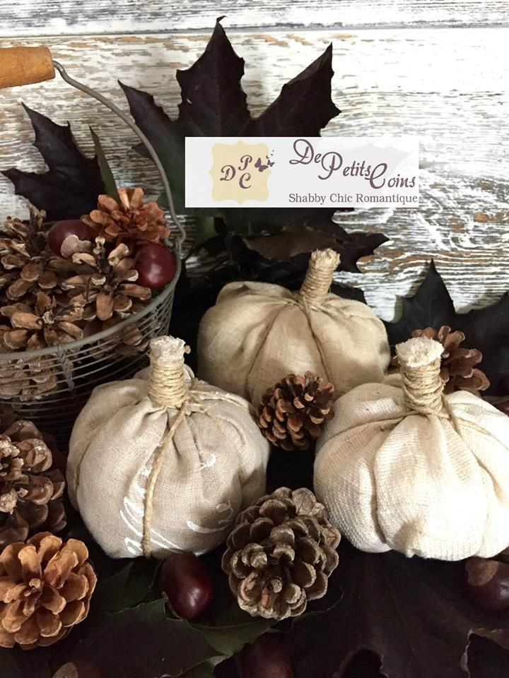 zucche stoffa shabby - shabby fabric pumpkins