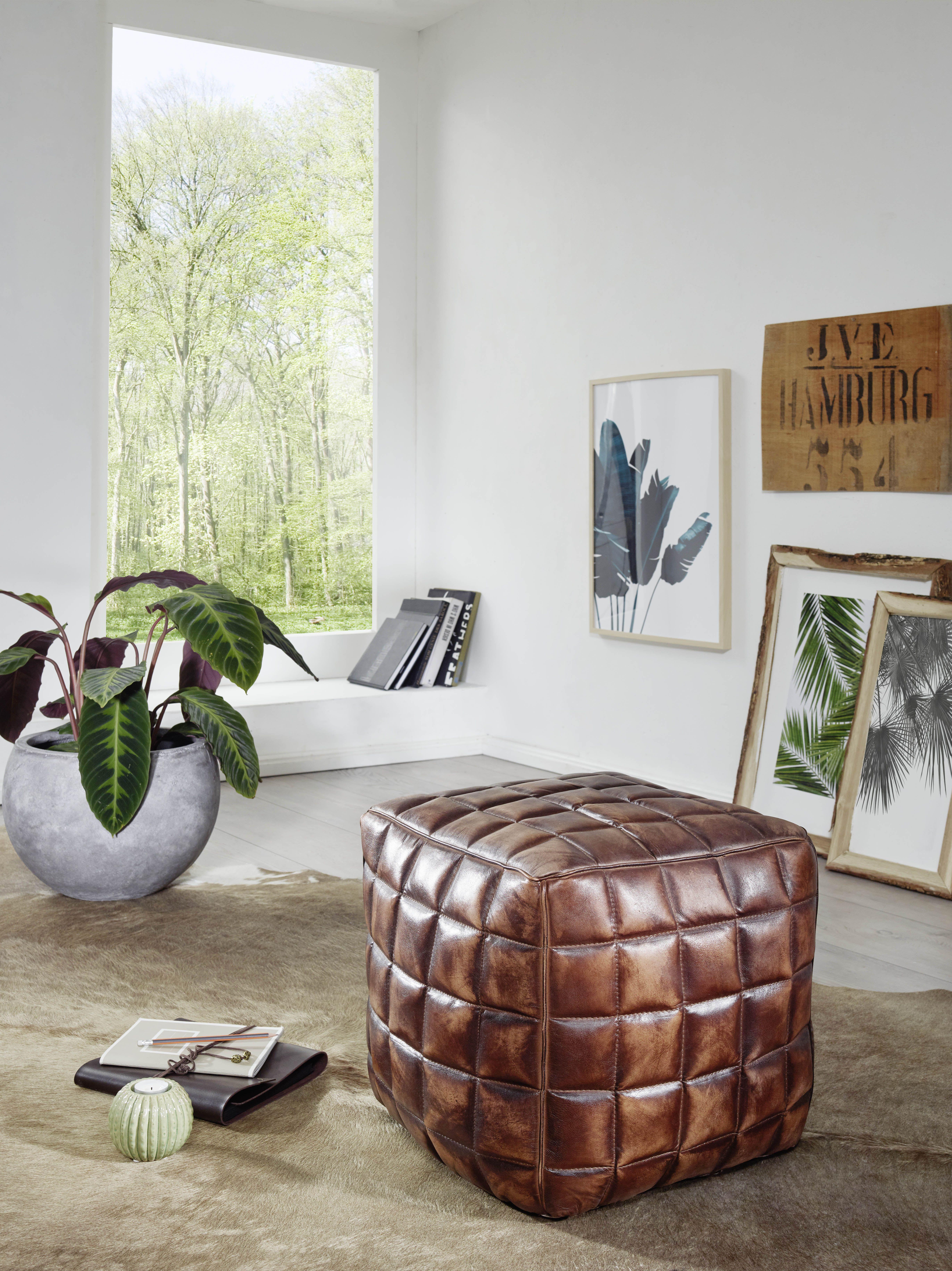 Wohnling Sitzhocker Stanley WL5.331 Braun Aus Leder #Wohnzimmer #Fernsehen  #Sitzen #