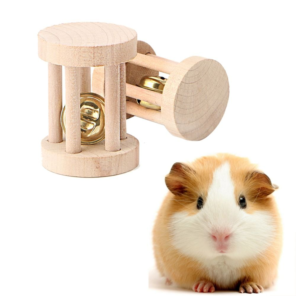 Pet Supplies Hamster Accessories Natural Wood Chew Toys Bell