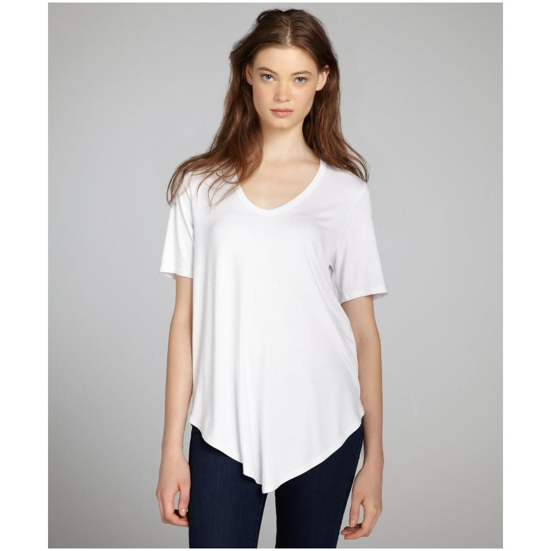 French-Fashion-White-V-Neck-Women-T-Shirt- | classic shiluette ...