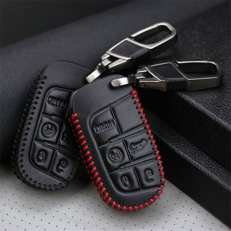 Genuine Leather Car Smart Key Case Cover For Dodge Ram 1500