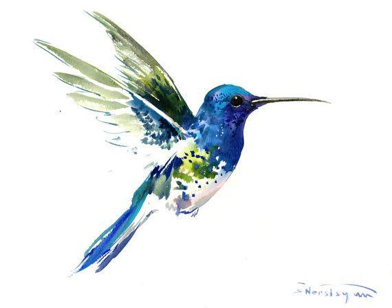 Vuela Colibri Pintura 14 X 11 Pulgadas Brillante Color Flores
