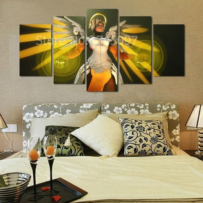 Mercy overwatch canvas printing wallpapers game poster living room painting home decor wall decoration canvas wallpaper