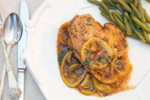 This delicious Meyer lemon chicken is pan-fried chicken in a Meyer lemon and garlic sauce.