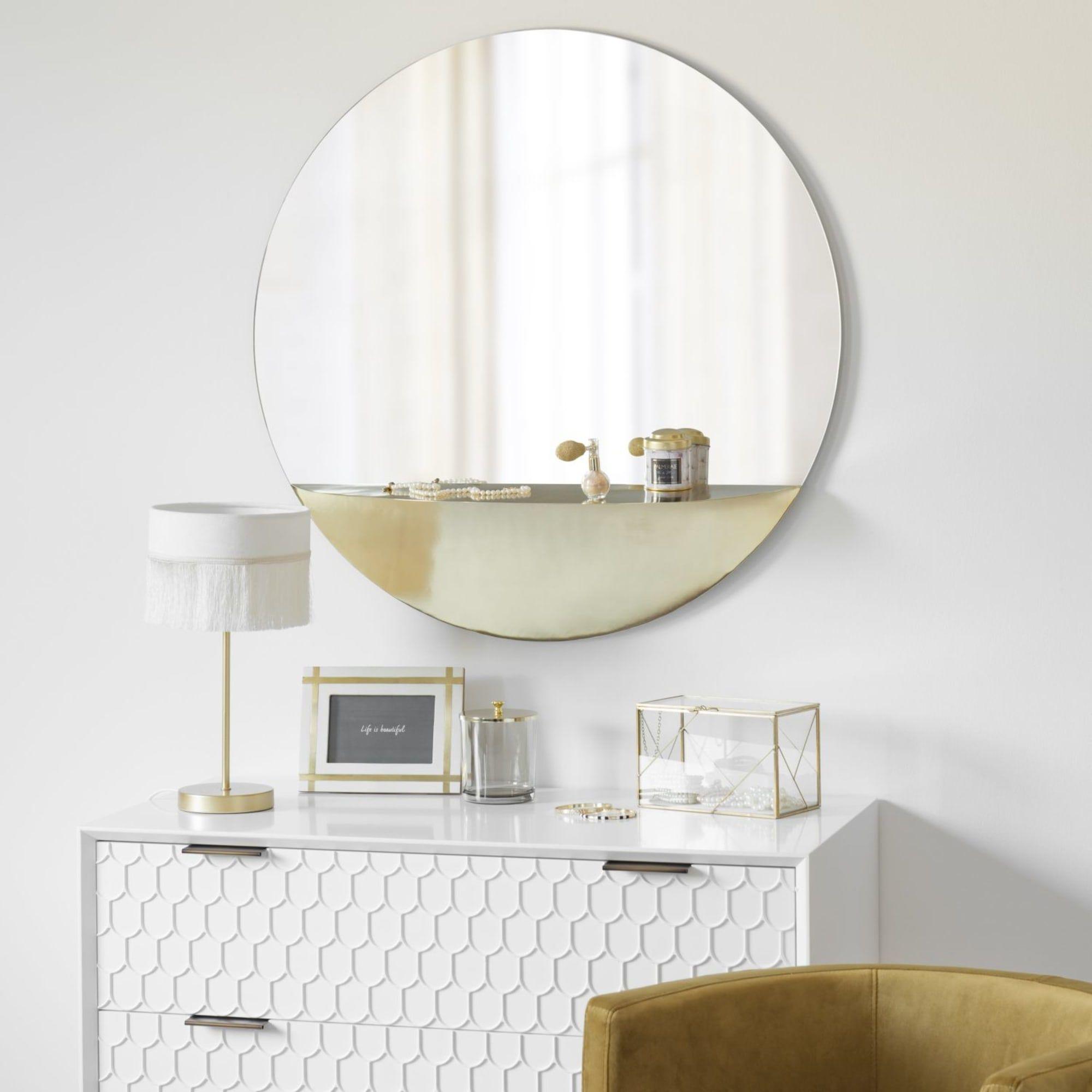 Miroir avec tablette en métal doré D17  Maisons du Monde