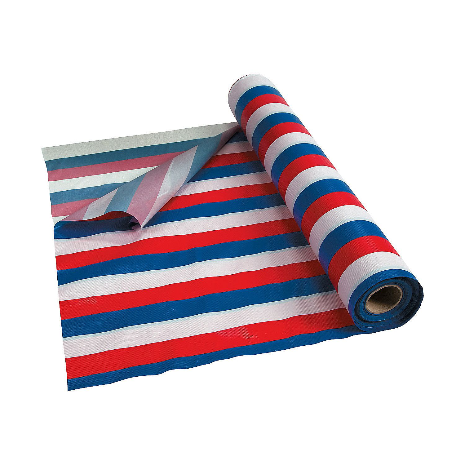 Red White Blue Striped Plastic Tablecloth Roll Blue Striped