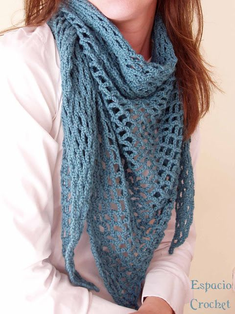 Espacio Crochet: Chal punto de red   Punto   Pinterest   Chal ...