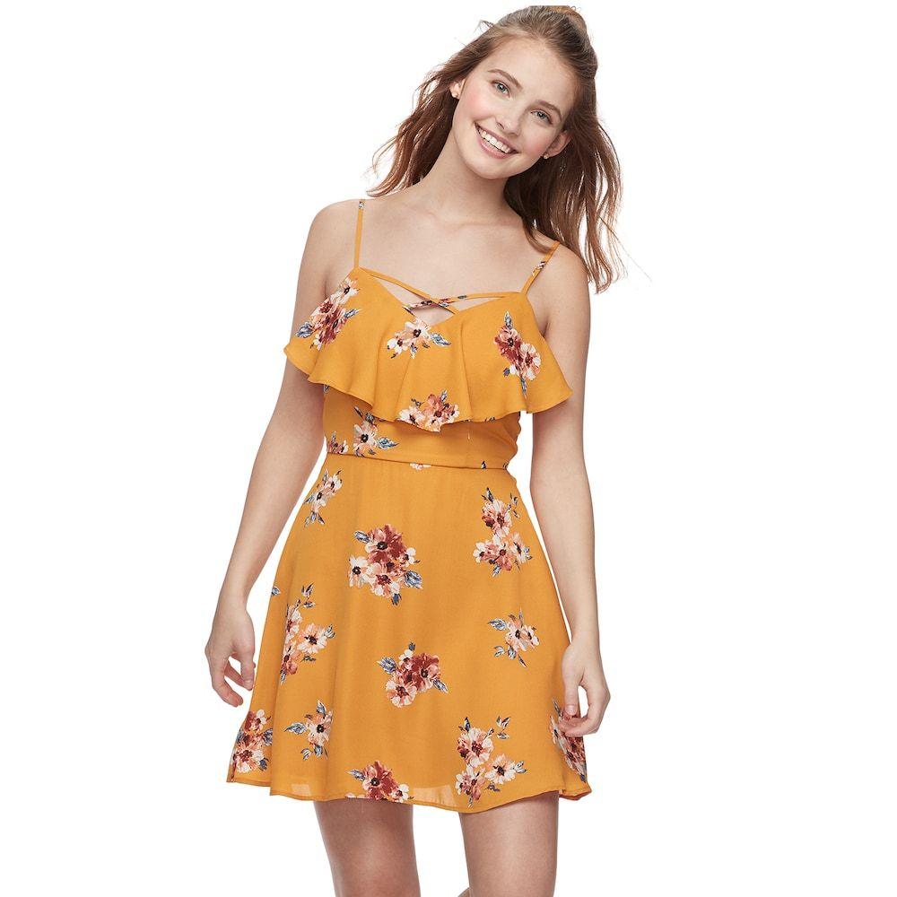 Juniors Trixxi Ruffled Floral Skater Dress Floral Skater Dress Dainty Dress Stylish Dresses [ 1000 x 1000 Pixel ]