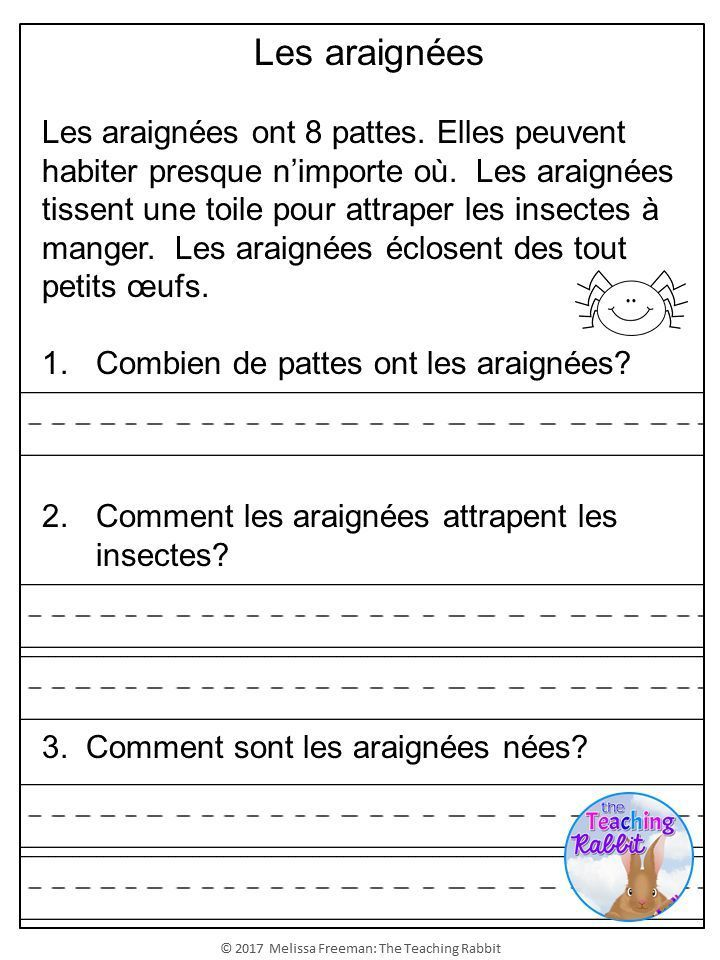 French Reading Prehension Passages & Questions