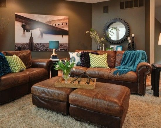 Houzz Airplane Room Brown Couch Peacock Living Room