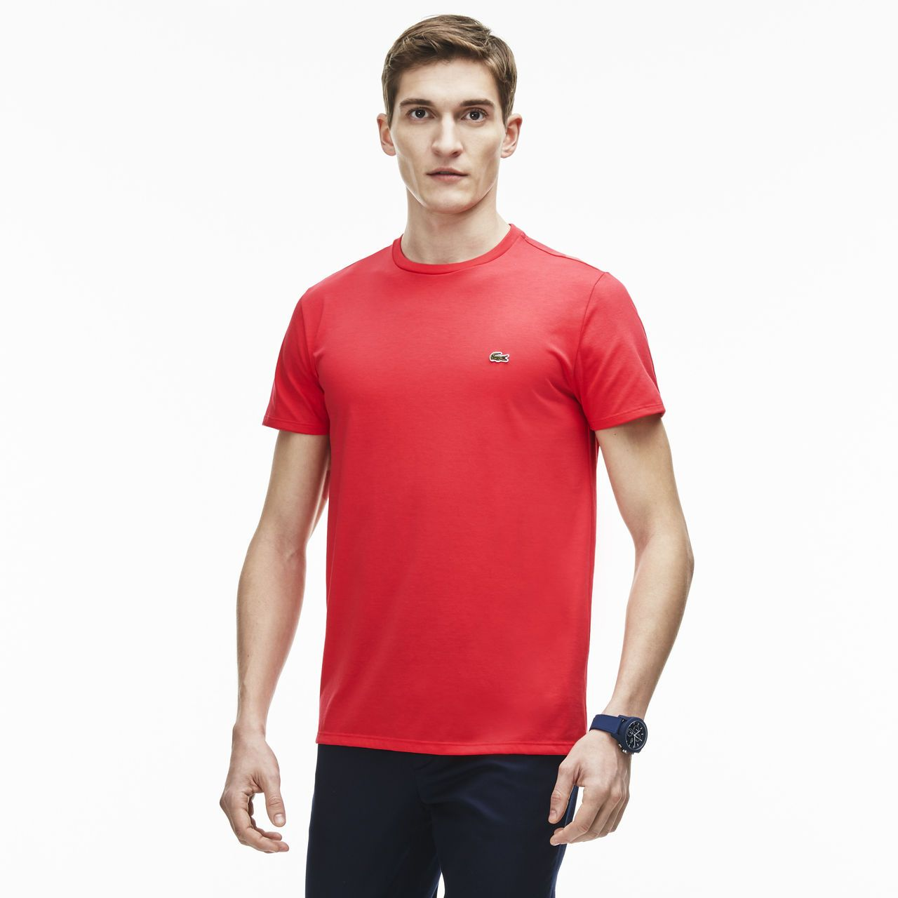 58c1edb352 T-shirt col rond en jersey de coton pima uni   Mode homme   Mode ...