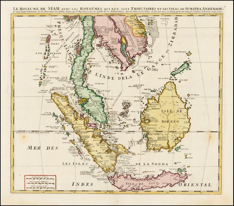 antique map of borneo sumatra malaya and java islands by henri chatelain in 1719
