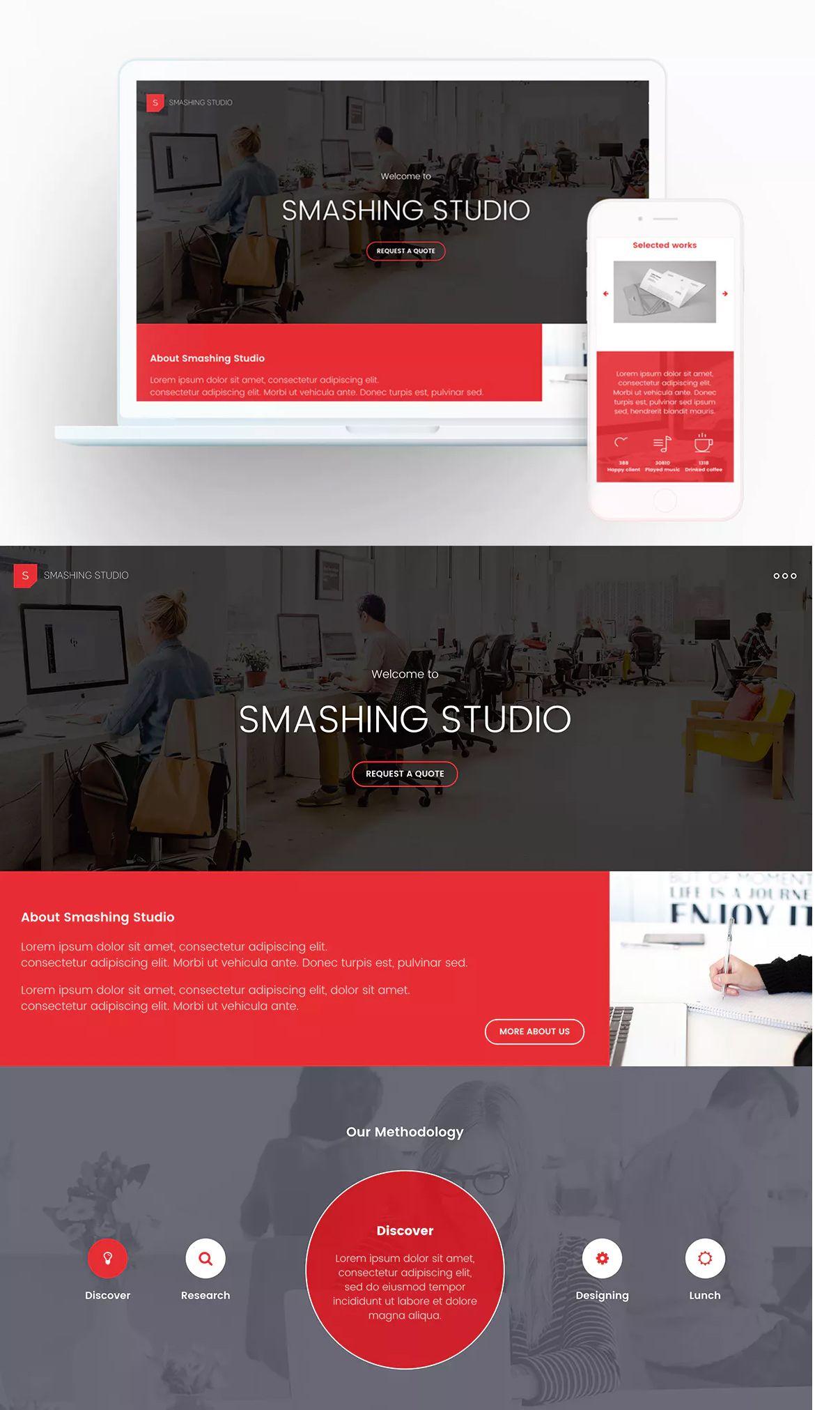 Smashing Studio Landing Page Template | Landing Page Templates ...