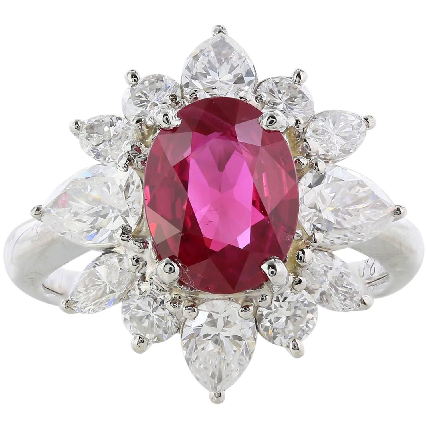 2.12 Carat Ruby Diamond Cluster Ring   Cluster ring, Diamond cluster ...