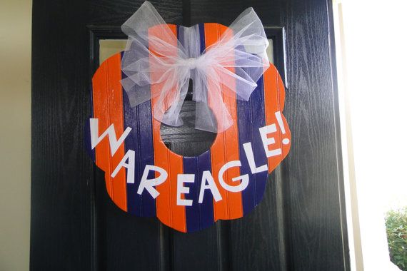 Painted personalized wooden wreath