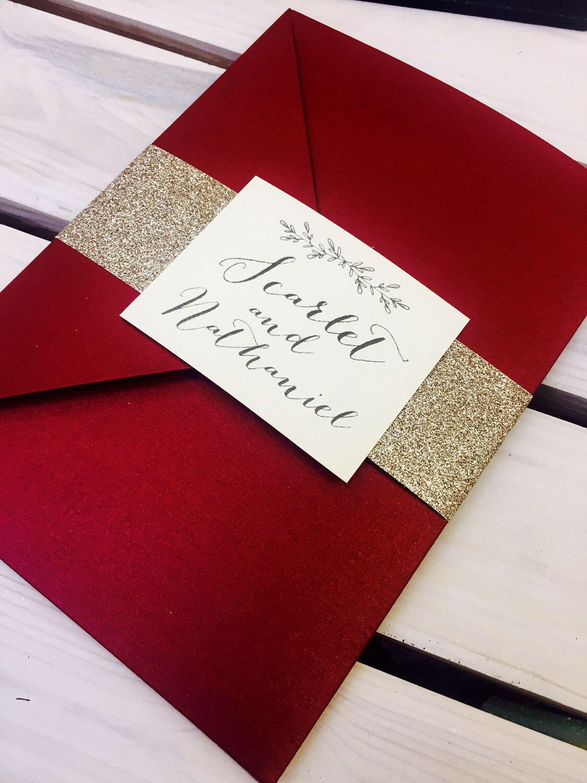 1 x \'Scarlet-Red\' pocket wedding invitation/RSVP?wish card sample ...