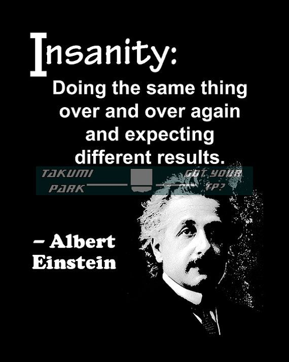 Albert Einstein, quote art, office decor, cubicle decor, insanity, gifts for artists, black and white, cubicle art, office art, wall quote