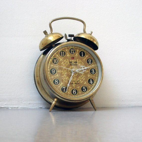 Home Goods Clocks: Vintage Alarm Clock / Gold