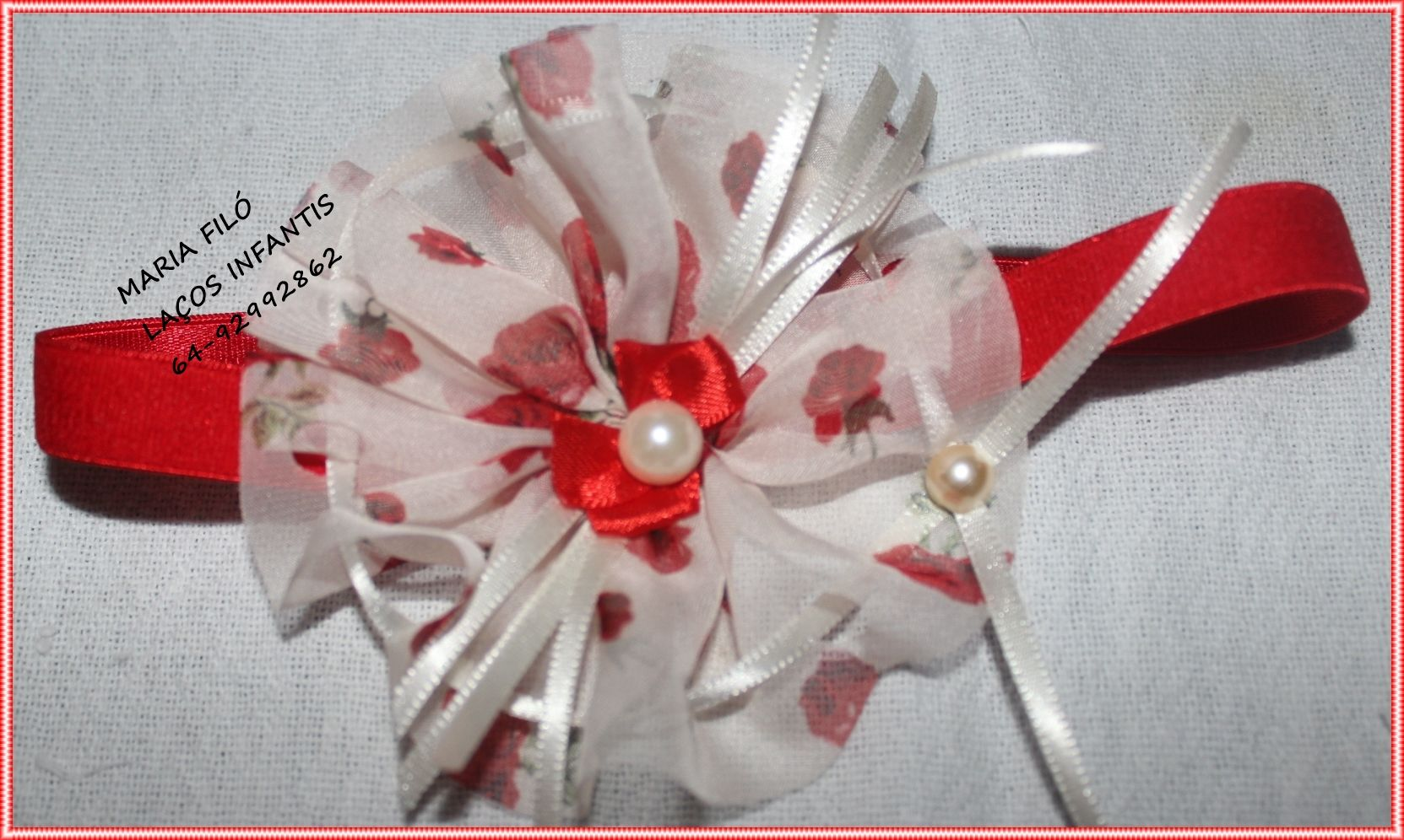 Laço vermelho floral!