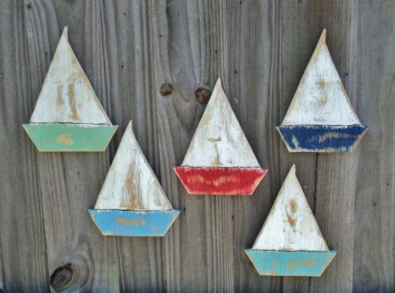 5 Beachy Weathered Sailboats, Beach House Wall Hanging, Lake House Decor, Coastal Living Room, Nautical Decor, Sailboat Decor, Rustic Wall #beachhouse