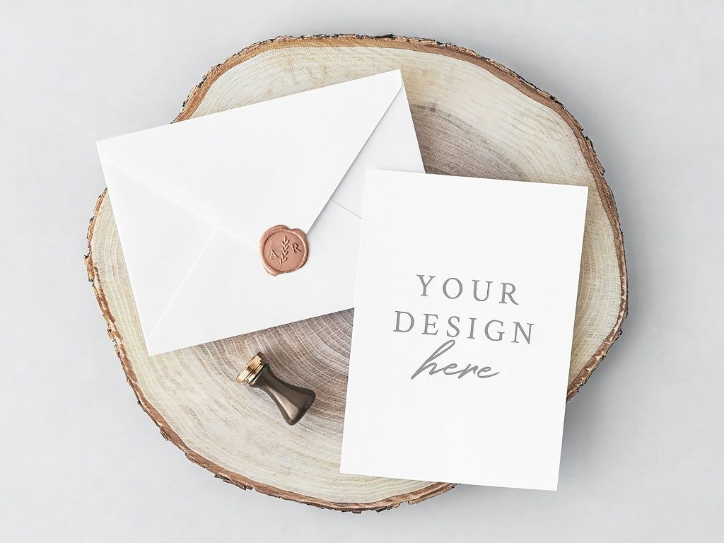 invitation card with envelope mockup presenting you this free