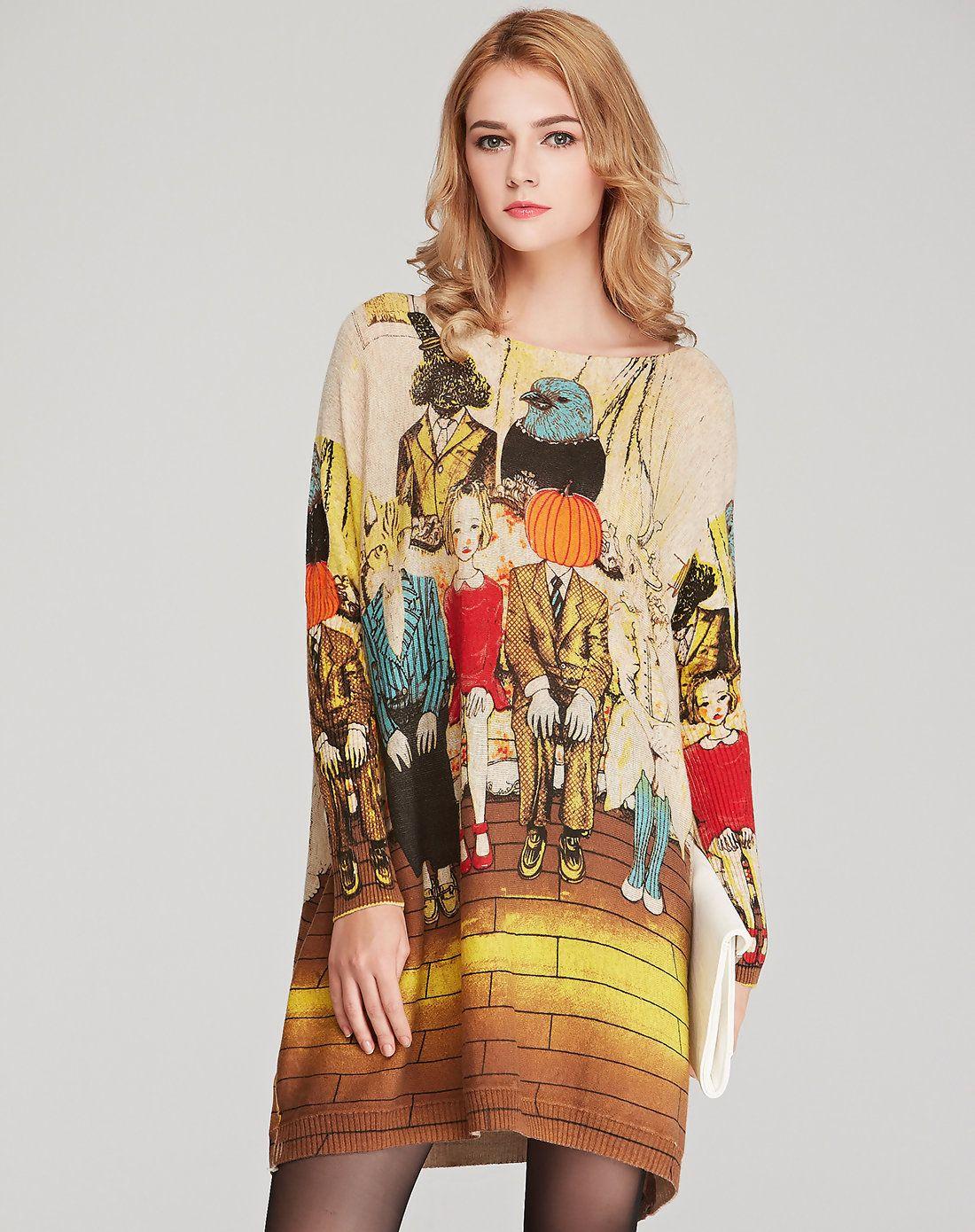 Adorewe vipme sweaters u cardigans hepswing printed long sleeve
