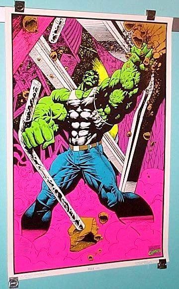 Original 1990's Marvel Comics Hulk 35 by 23 blacklight poster 1: 1996/Avengers