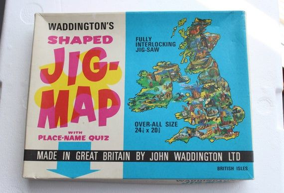 vintage jig-map BRITISH ISLES united kingdom map puzzle wall hanging poster waddington's made in gre #britishisles