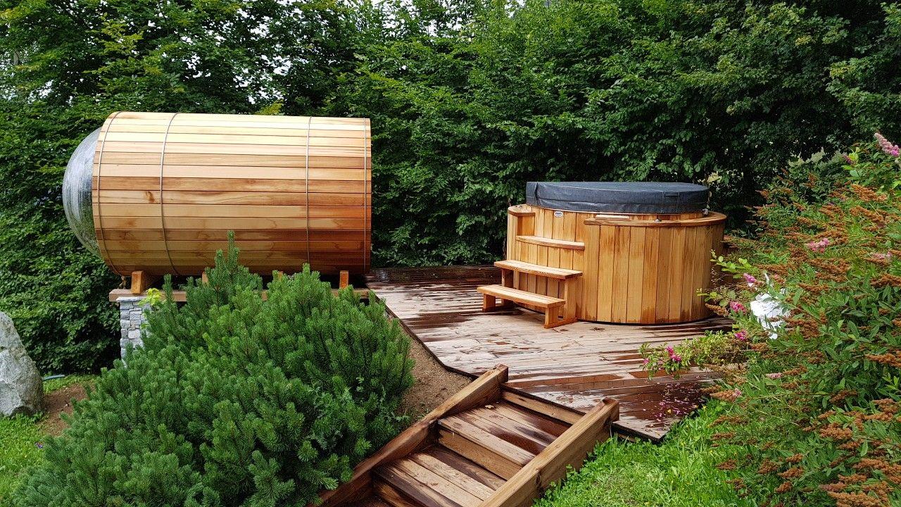 Spa Bois Red Cedar Avec Sauna Vision A Manigod Sur Terrasse Bois